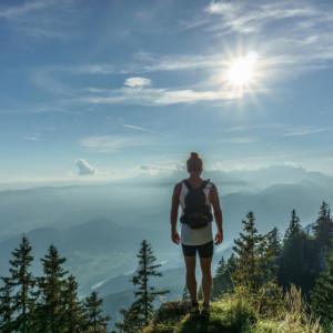 Woman hiking with wonderful landscape.
