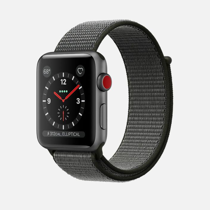 Apple Watch Space Gray Aluminum Case with Dark Olive Sport Loop