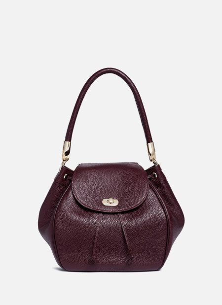 Grainy leather bucket bag