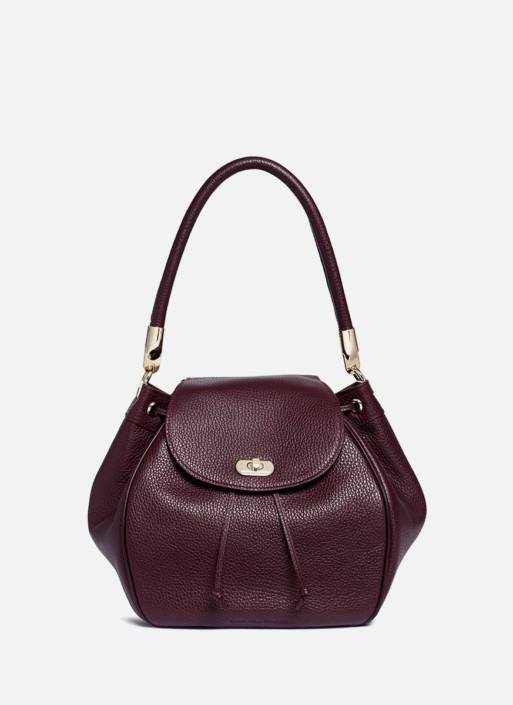 Grainy leather bucket bag