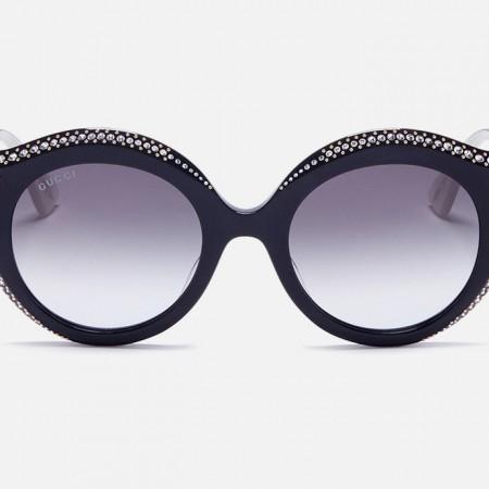 Jewelled acetate cat eye sunglasses