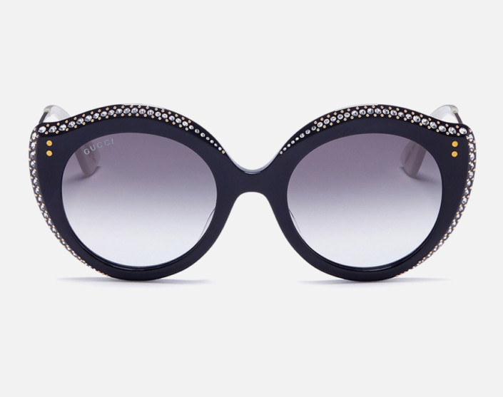 Jewelled acetate cat eye sunglasses