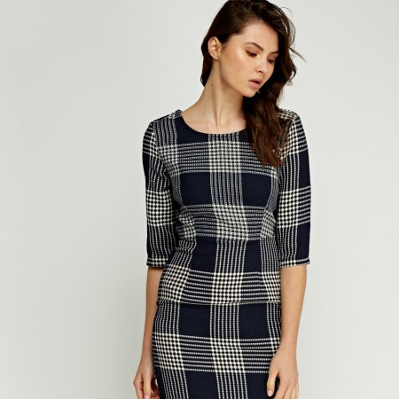Checked Textured Pencil Dress