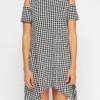 Cold Shoulder Printed Asymmetric Dress