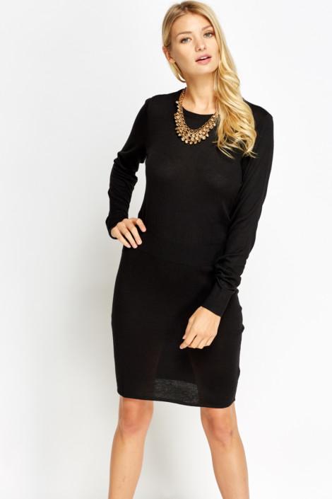 Fitted Waist Knitted Jumper Dress