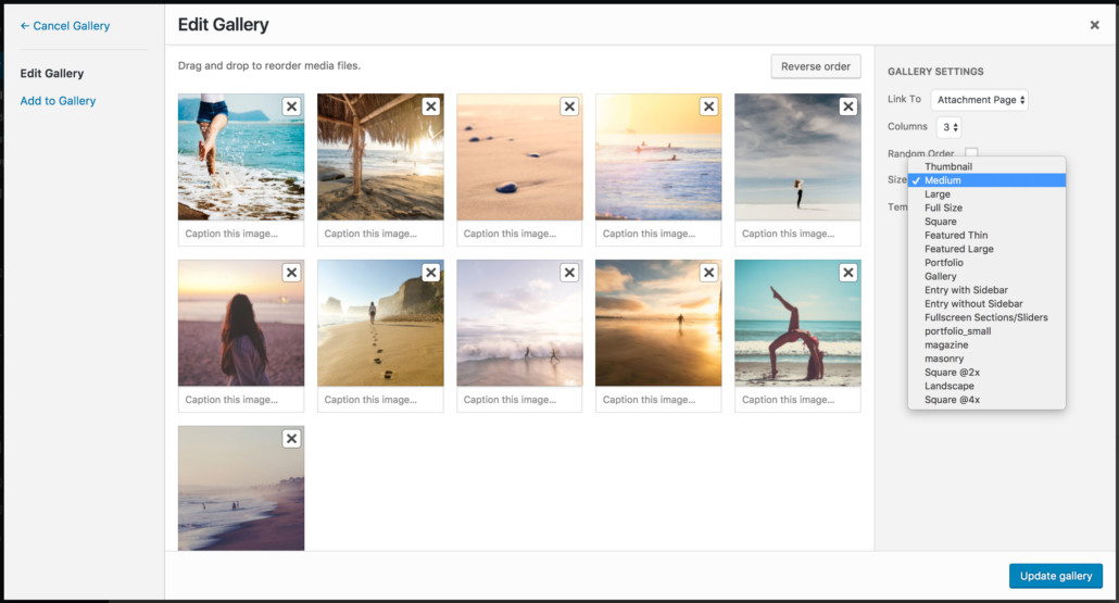 Gallery manage image sizes