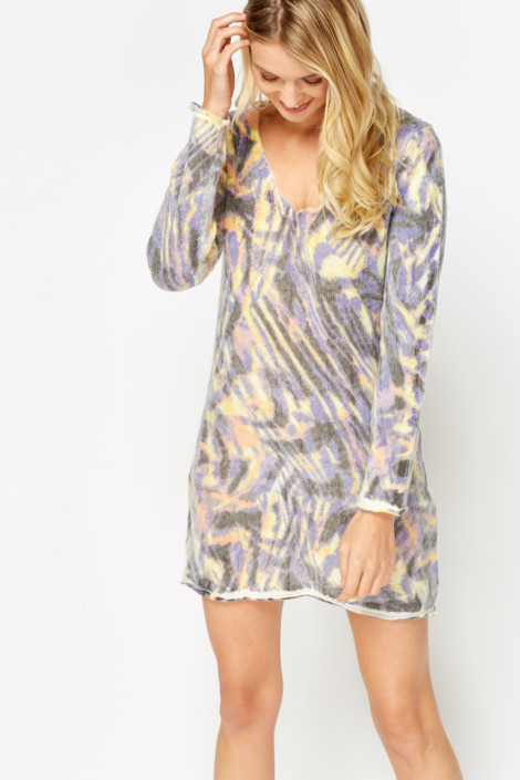 Mixed Print Jumper Dress