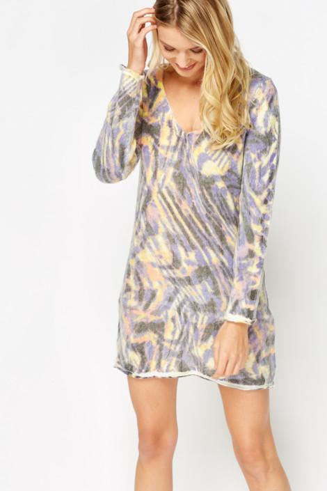 Mixed Print Jumper Dress