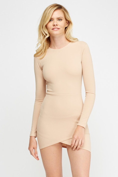 Wrap Hem Bodycon Dress
